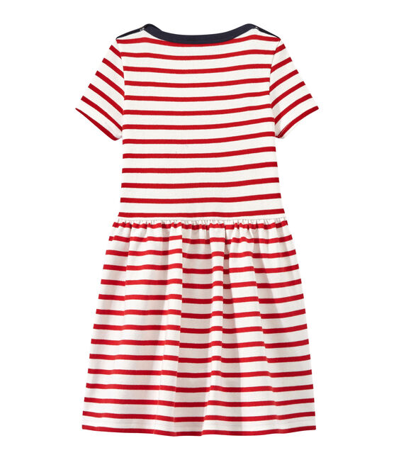 Girl's striped dress Marshmallow white / Terkuit red