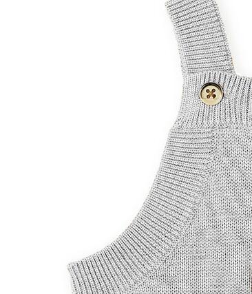 Baby Boys' Long Dungarees in Wool/Nylon/Alpaca Knit Montelimar Chine grey