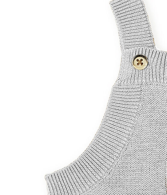 Baby Boys' Long Dungarees in Wool/Nylon/Alpaca Knit Montelimar Chine grey