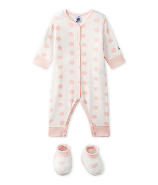Baby girl's footless sleepsuit in terrycloth bouclette Lait white / Rose pink