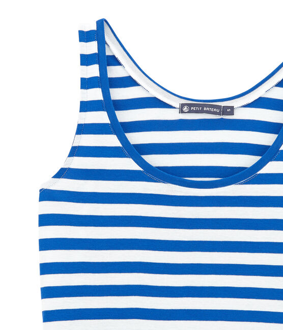Women's dress Perse blue / Marshmallow white