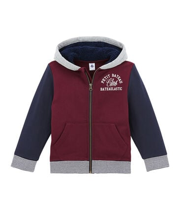 Boy's zipped sweatshirt in cotton sweatshirt and sherpa