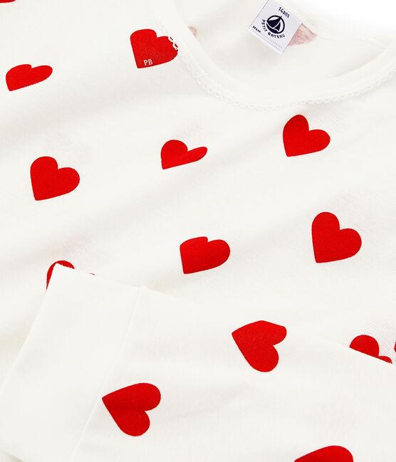 Girls' Heart Pattern Organic Cotton Pyjamas Marshmallow white / Terkuit red