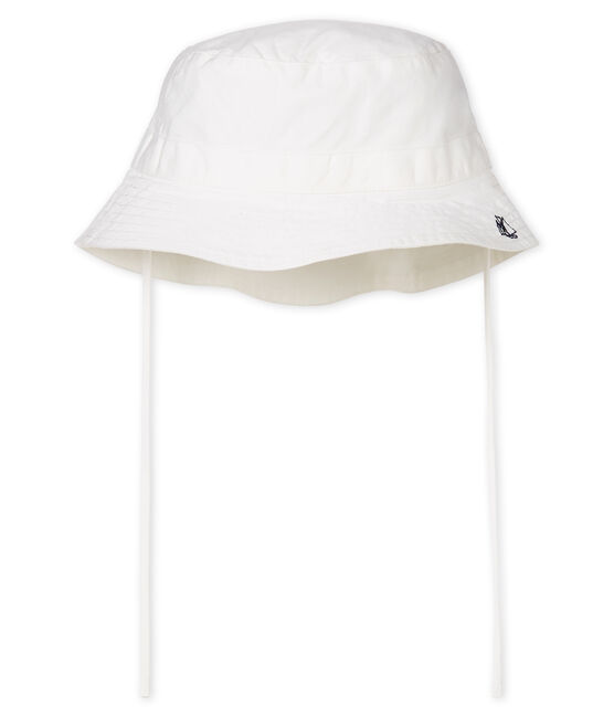 Unisex twill bucket hat for babies Marshmallow white