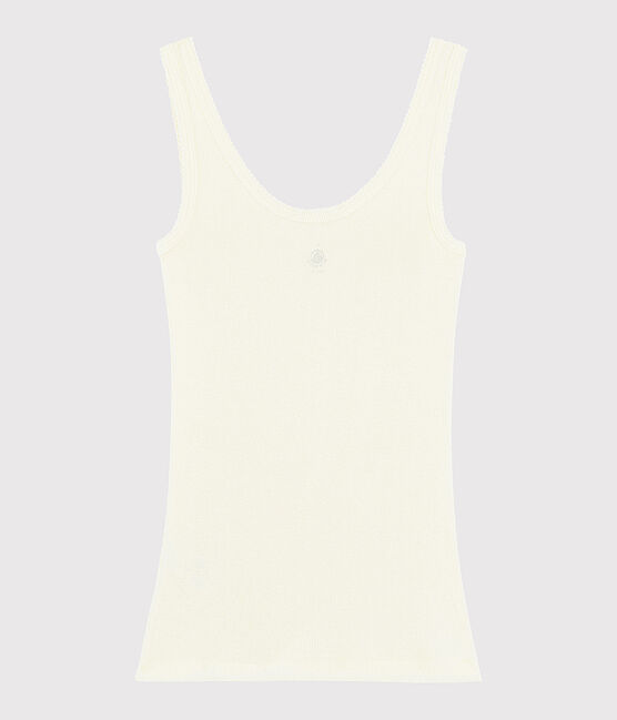 Women's wool and cotton blend tank top Marshmallow white
