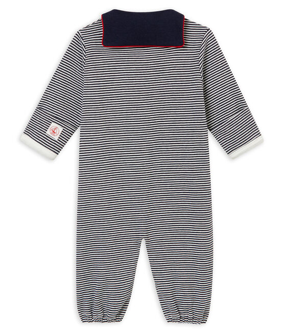 Baby boy's long sleeved combi sleepsuit in milleraies cotton Smoking blue / Marshmallow white
