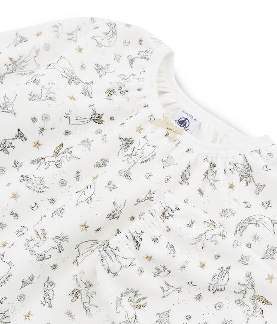 Girls' Velour Pyjamas Marshmallow white / Multico white