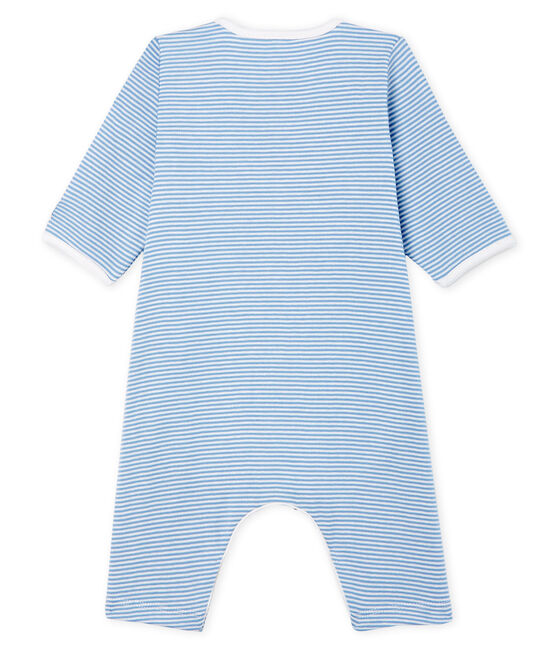 Baby Girls' Footless Ribbed Bodyjama Acier blue / Marshmallow white