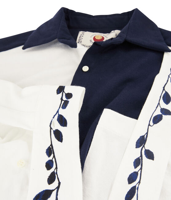 Women's shirt dress Christoph Rumpf x Petit Bateau Smoking blue / Marshmallow white
