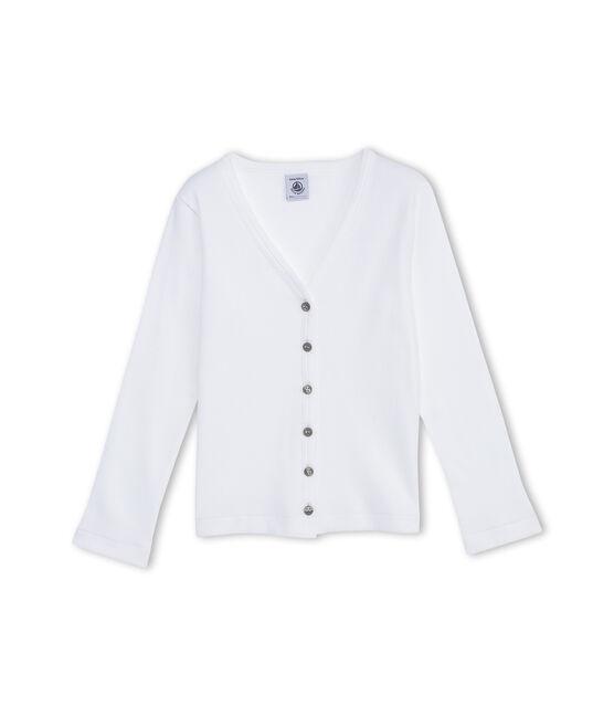 Girl's plain cardigan Ecume white