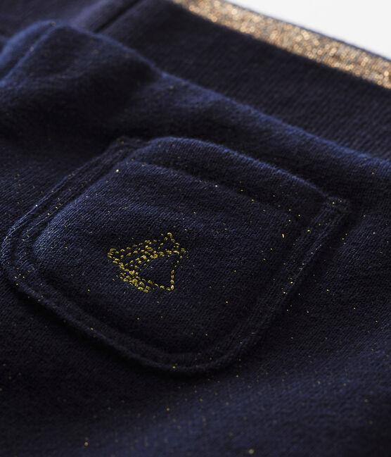 Baby girl's shiny cotton sweatshirt trousers Smoking blue / Dore yellow