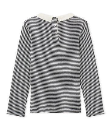 Girls' long-sleeved ribbed T-shirt Smoking blue / Marshmallow white