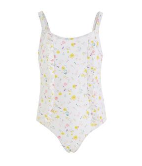 Girls' UPF 50+ One-Piece Swimsuit Marshmallow white / Multico white