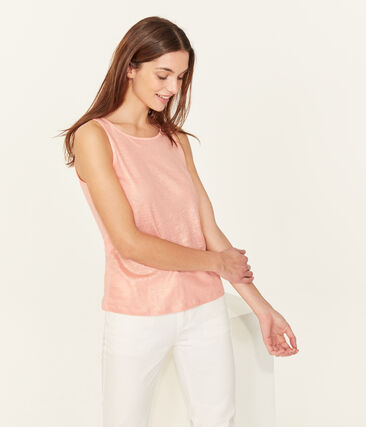 Women's iridescent linen sleeveless top Rosako pink / Copper pink