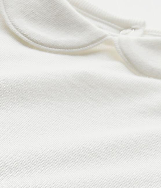 Baby girls' bodysuit with collar Marshmallow white