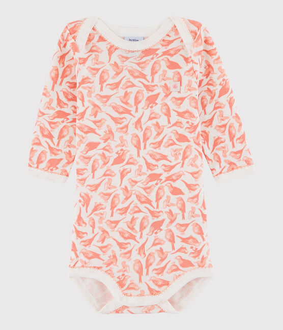 Baby Girls' Long-Sleeved Bodysuit Marshmallow white / Patience pink