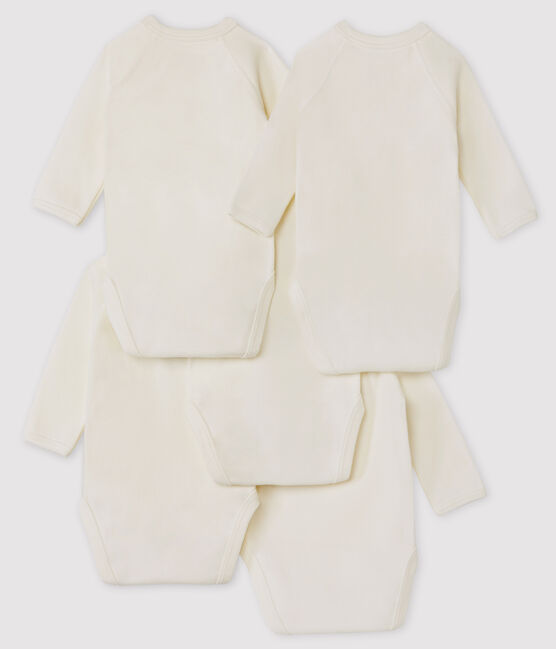 Babies' White Long-sleeved Wrapover Organic Cotton Bodysuits - 5-Pack . set