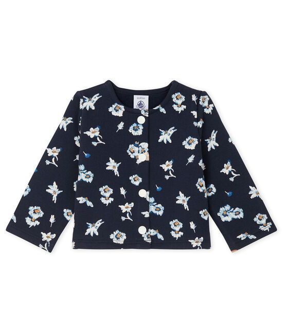 Baby Girls' Print Fleece Cardigan Smoking blue / Multico white