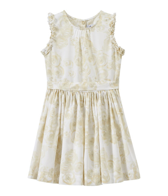 Girl's sleeveless print dress Marshmallow white / Multico white