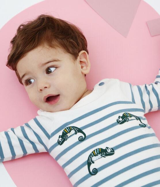 Baby boys' breton striped bodysuit Marshmallow white / Fontaine blue