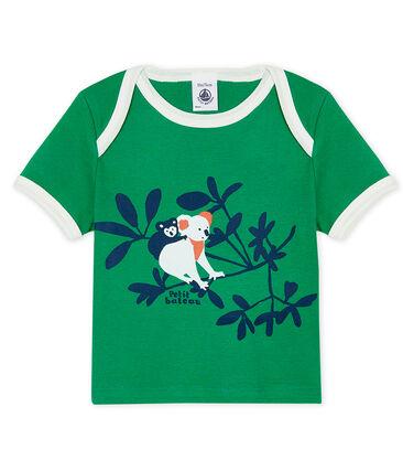 Short-sleeved T-shirt for baby boys Prado green