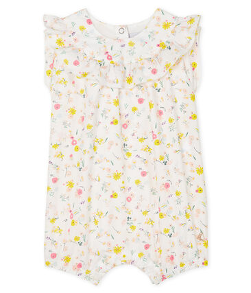 Print playsuit for baby girls Marshmallow white / Multico white