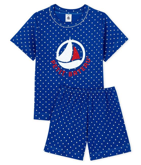 Boys' Ribbed Short Pyjamas Surf blue / Marshmallow white