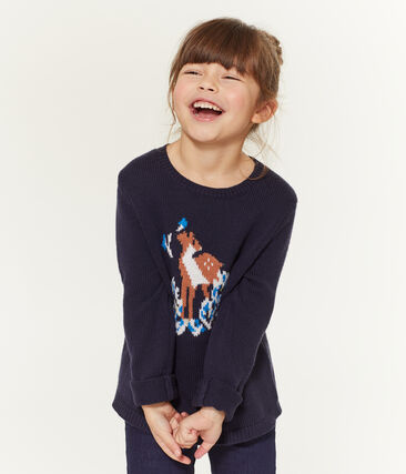 Girls' Pullover Smoking blue / Multico white