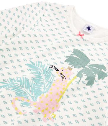 Girls' Tube Knit Pyjamas Marshmallow white / Multico white