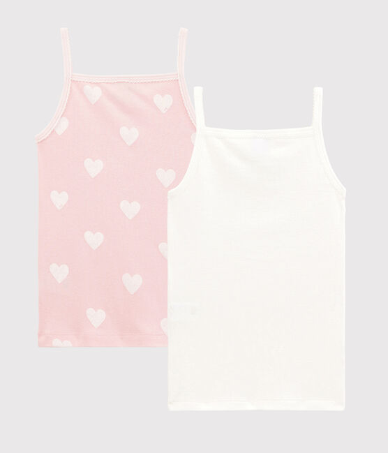 Girls' Red Heart Pattern Organic Cotton Strappy Tops - 2-Pack . set