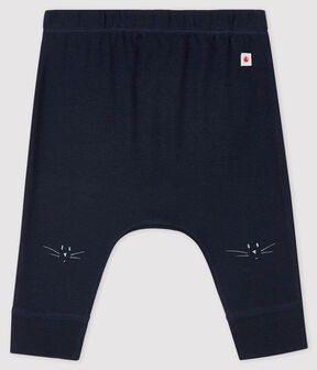 Babies' Organic Cotton Leggings with Cat Heads Smoking blue