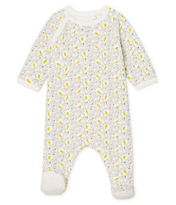 Baby Girls' Sleepsuit in Extra Warm Brushed Towelling Marshmallow white / Multico white