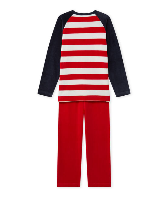 Boy's anchor motif pyjamas Smoking blue / Froufrou red