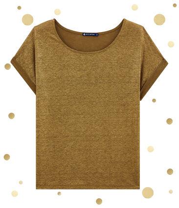 women's short sleeved tee-shirtin shiny linen