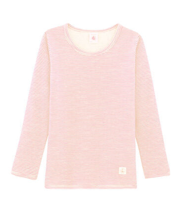 Children's Long-Sleeved Wool and Cotton T-Shirt Charme pink / Marshmallow white