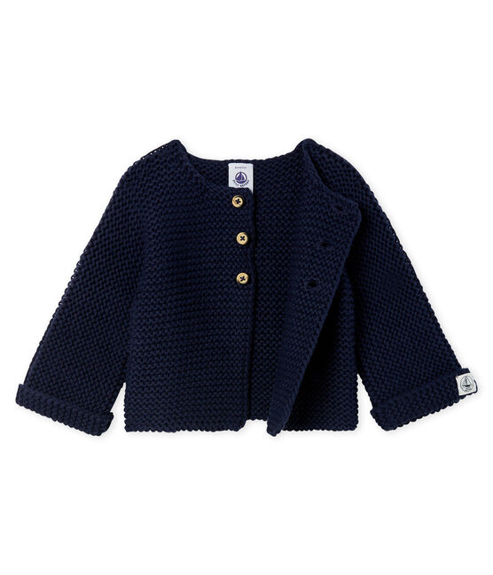 Baby Girl's Wool/Cotton Moss Stitch Cardigan SMOKING