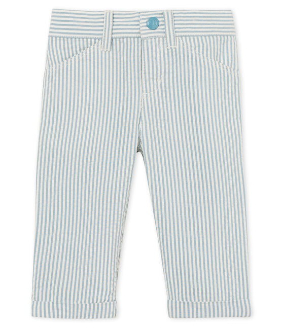 Baby boys' striped trousers Fontaine blue / Marshmallow white