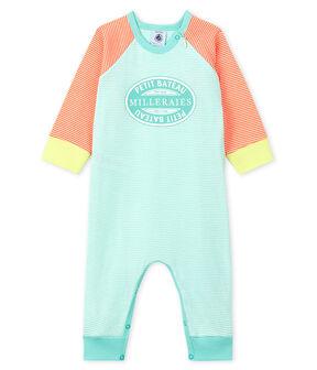 Babies' Footless Ribbed Sleepsuit Coral orange / Marshmallow white