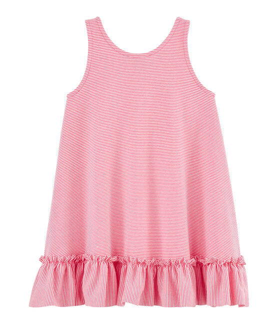 Girls' Dress Geisha pink / Marshmallow white