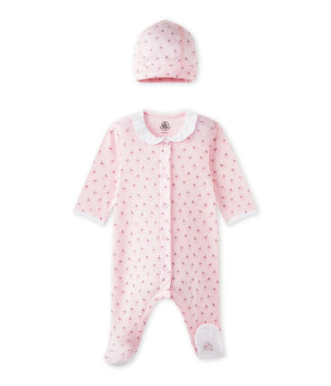 Baby girls' sleepsuit and its newborn hat Vienne pink / Multico white