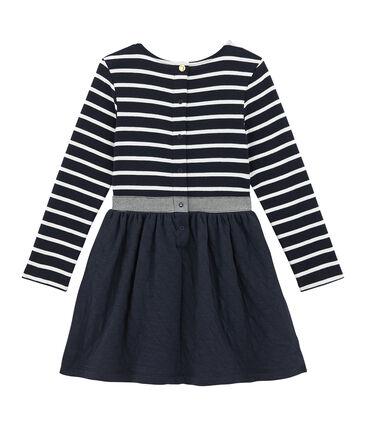 Girl's dual fabric striped dress