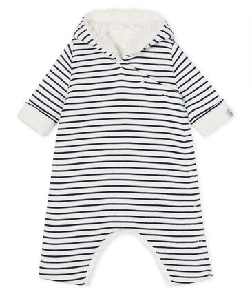 Babies' Long Jumpsuit in Padded Rib Knit Marshmallow white / Smoking Cn blue