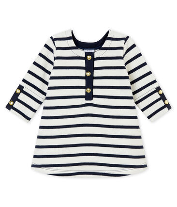 Baby girl's iconic dress Marshmallow white / Smoking blue
