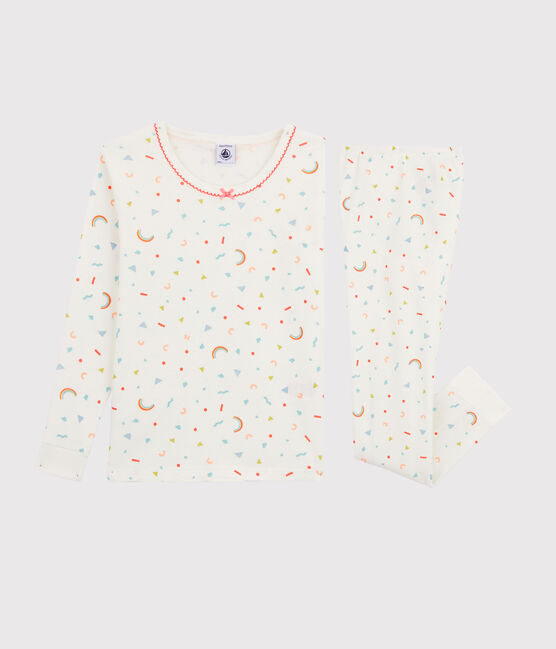Girls' Snugfit Confetti Print Ribbed Pyjamas Marshmallow white / Multico white
