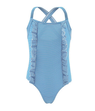 Girls' One-Piece Swimsuit Riyadh blue / Marshmallow white