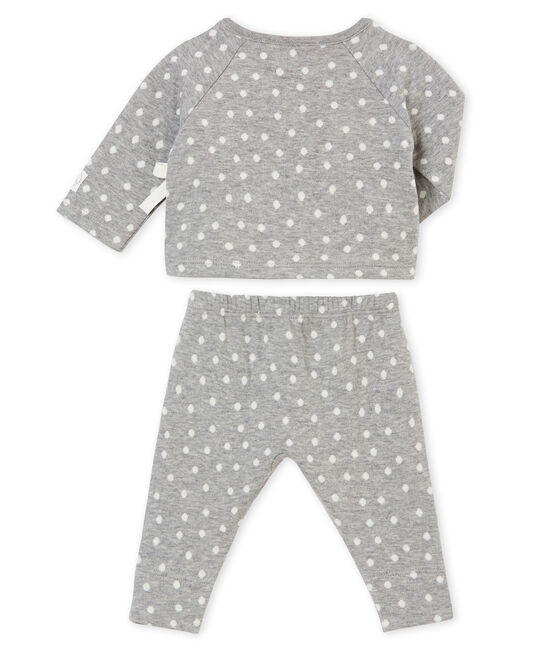Baby girl's 2 piece set Subway grey / Multico white