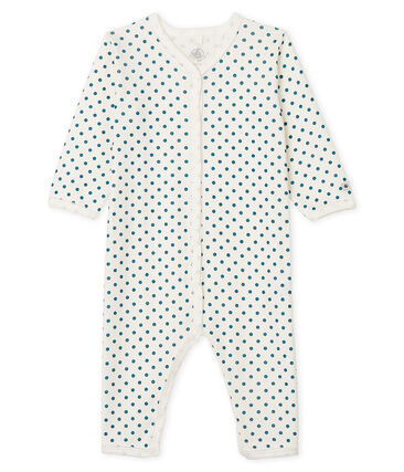 Baby Girls' Footless Sleepsuit Marshmallow white / Contes Cn blue