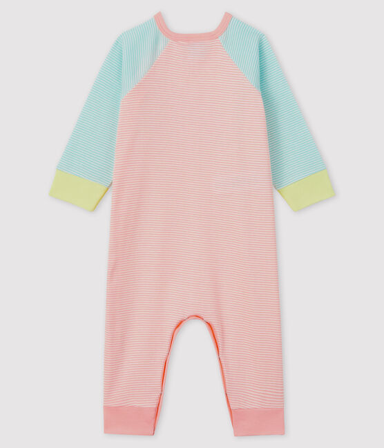 Babies' Footless Ribbed Sleepsuit Verglas green / Marshmallow white