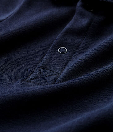 Baby boys' plain bodysuit with polo shirt collar Smoking blue