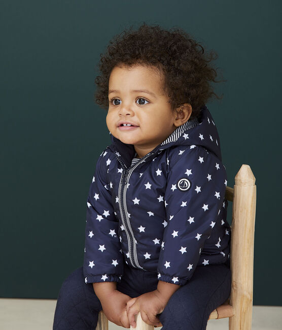 Unisex baby's blouse with print Smoking blue / Marshmallow white